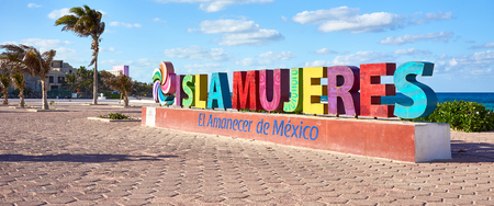 Sign with so called Isla Mujeres  Welcome to Isla Mujeres Stock Photo