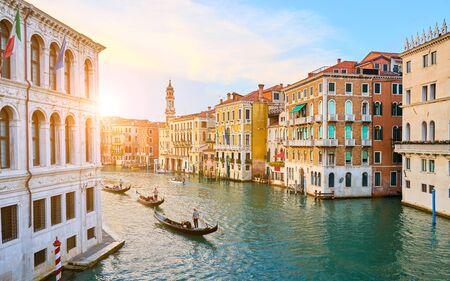 Venetian gondoliers punting gondolas