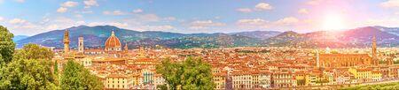 Aerial view of Florence with Santa Maria del Fiore Basilica (Duomo)