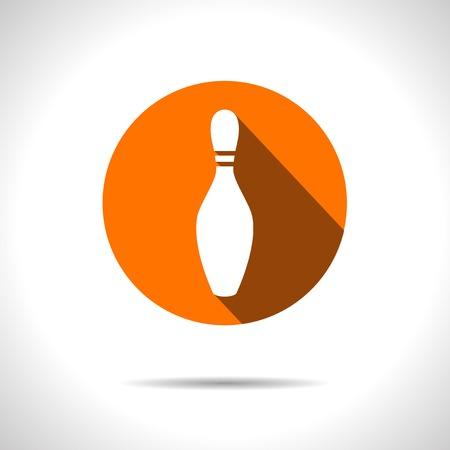 kegelen: Vector oranje kegel pictogram.
