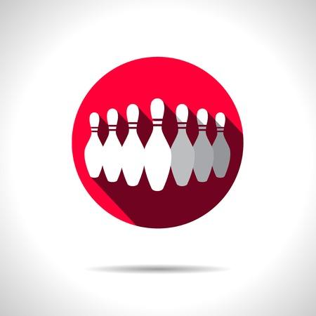 quilles: Vecteur quilles rouges ic�ne. Illustration