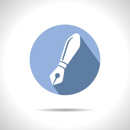 blue pen: Vector fountain blue pen icon.