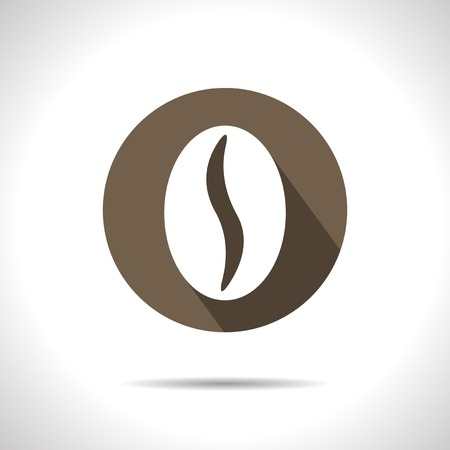 beans: brown coffee bean icon.  Illustration