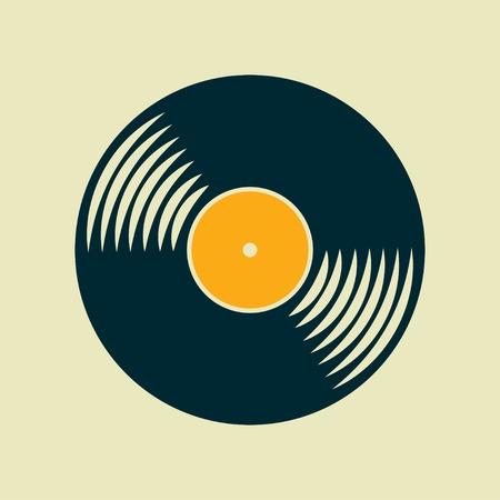 Vector vinyl record icon.  Çizim