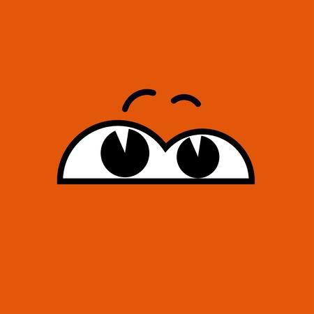 dreary: Vector cartoon eyes. Orange.