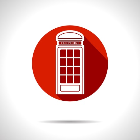 red telephone box: Vector british red telephone box icon  Illustration