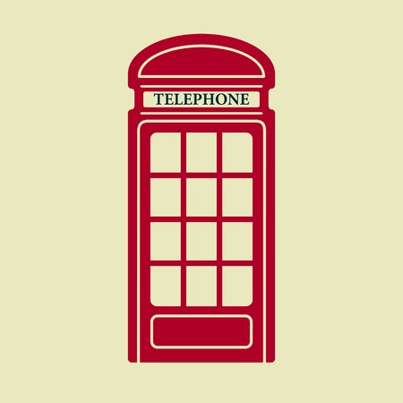 telephone box: Vector british red telephone box icon