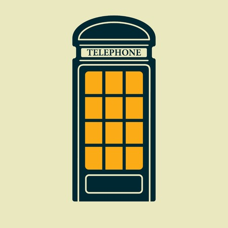 stereotypes: Vector british blue telephone box icon
