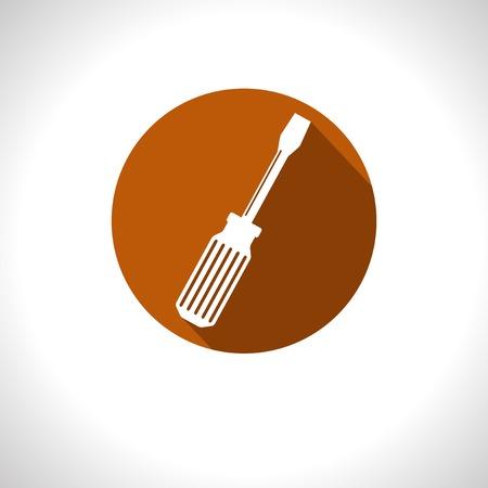 broun: Vector broun screwdriver flat icon with shadow  Eps10