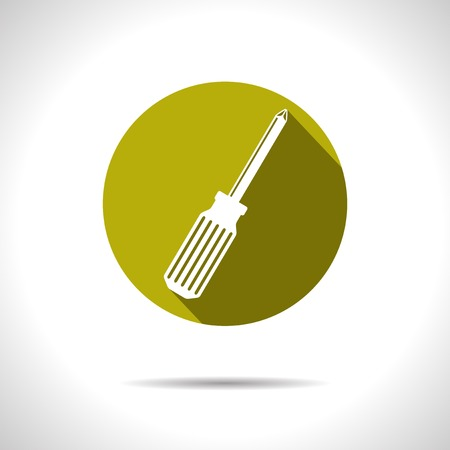 Vector yellow phillips screwdriver flat icon  Eps10
