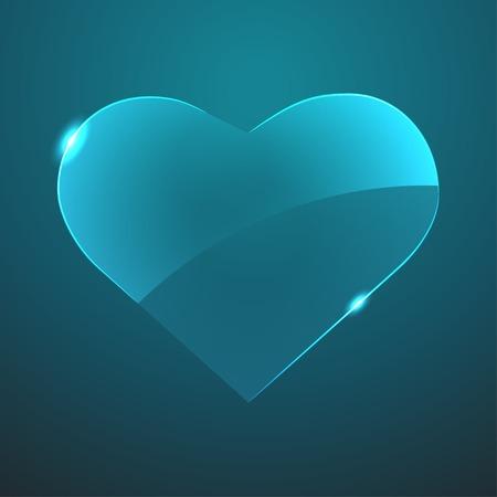 gloss: Vector blue gloss glass heart icon  Eps10