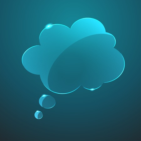 textbox: Vector blue gloss glass callout cloud icon  Eps10