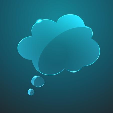 gloss: Vector blue gloss glass callout cloud icon  Eps10
