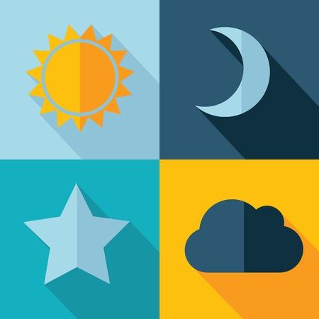 Vector weer ingesteld pictogram zon ster maan wolk Eps10