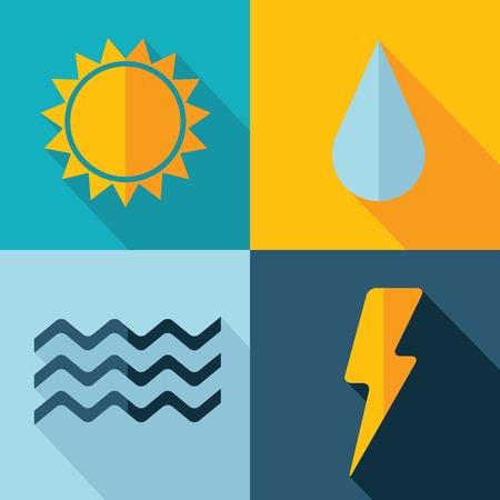 sun drop: Vector weather set icon  sun flash drop wind  Eps10