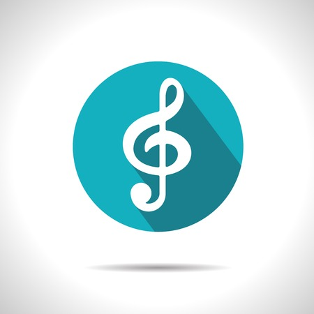 music symbols: Vector blue music flat icon with shadow  Eps10 Illustration
