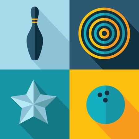 kegelen: Vector spelletjes set pictogram met bal doel ster kegelbaan Eps10