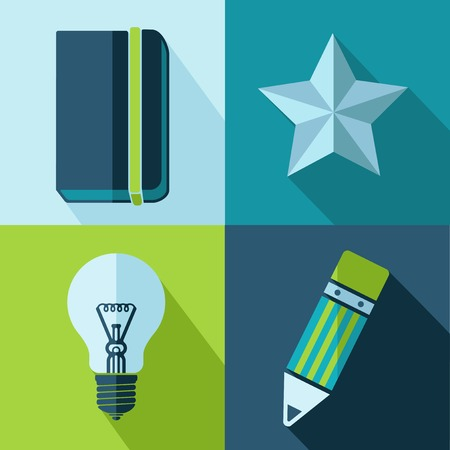 periodicals: Vector retro color office set icons  Eps10