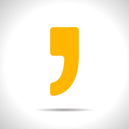 and comma: Vector flat isolate yellow comma icon  Eps10 Illustration