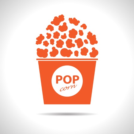 Vector flat isolate orange popcorn icon  Eps10 Vector