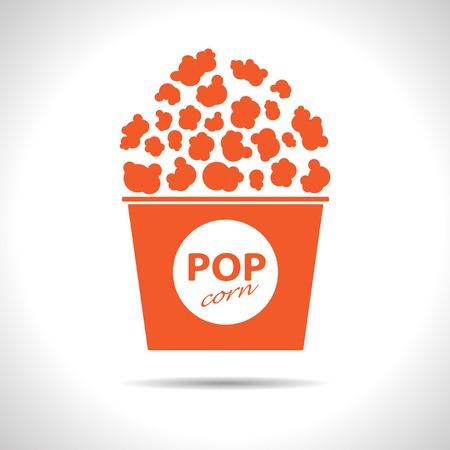 Vector flat isolate orange popcorn icon  Eps10 Vector