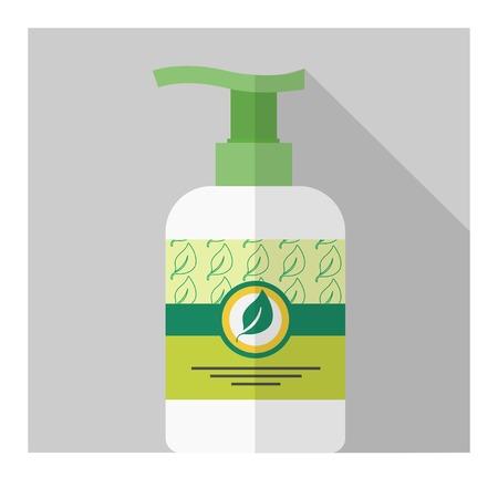 liquid soap: Vector flat liquid soap bottle. Flat cosmetic. Eps10