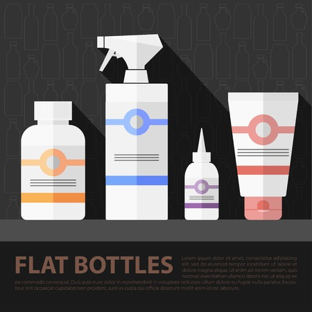 cleanse: Vector flat  cosmetic bottles set. Flat health elements. Eps10 Illustration