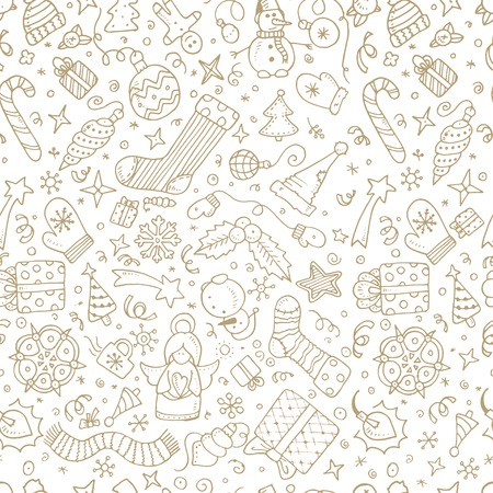 Vector christmas doodles seamless background. Hand draw. Eps10 Vector