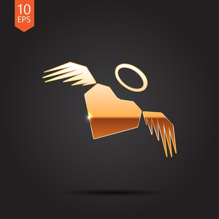 gold heart: Vector gold heart with wings icon isolated on dark background. Eps10 Illustration