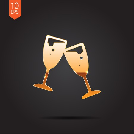 metall and glass: Vector gold stemware icon isolated on dark background. Eps10