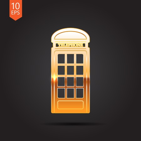 telephone box: Vector gold telephone box icon isolated on dark background. Eps10