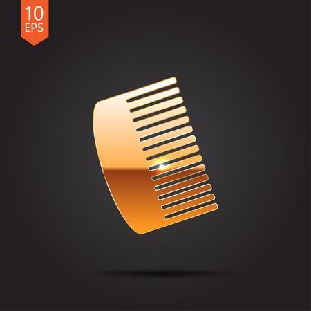 hairbrush: Vector gold hairbrush icon isolated on dark background. Eps10