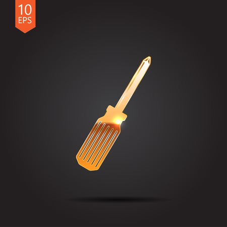 phillips: Vector gold phillips screwdriver  icon isolated on dark background. Eps10