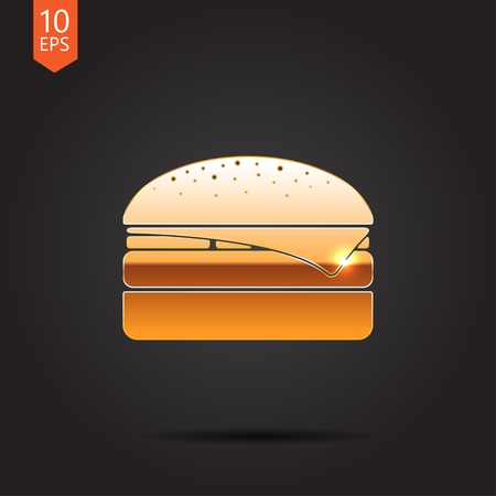 metall: Vector gold burger icon isolated on dark background. Eps10 Illustration