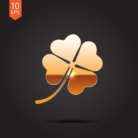 clover icon: Vector gold clover icon  isolated on dark background. Eps10 Illustration