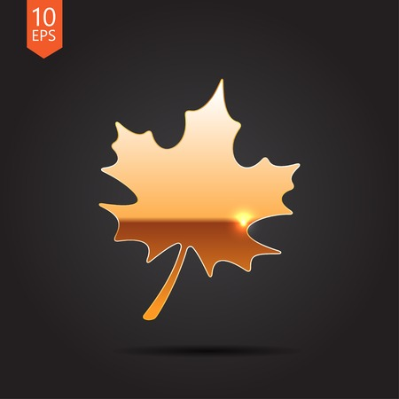 Vector gold maple  leaf icon isolated on dark background. Eps10 Vector