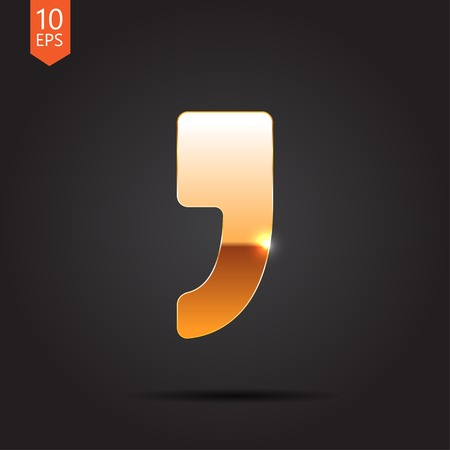 comma: Vector flat comma icon  isolated on dark. Eps10
