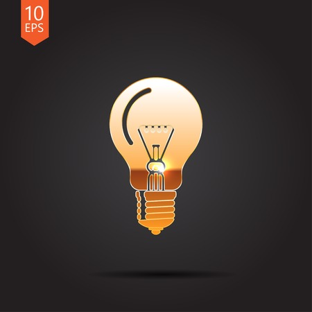metall and glass: Vector gold  lightbulb icon isolated on dark background. Eps10 Illustration