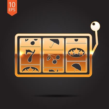 lever arm: Vector flat golden slot icon. Casino icon. Eps10