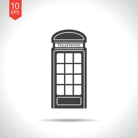 telephone booth: Vector british telephone box icon isolated on white. Eps10 Illustration