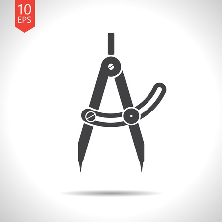 architect tools: Vector flat  compasses icon isolated on white. Eps10 Illustration