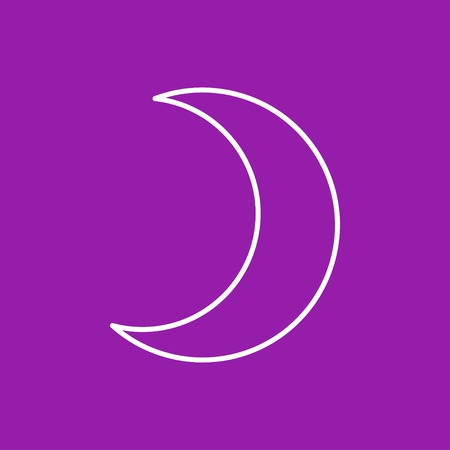 moon shadow: Vector flat moon icon  isolated outline. Eps10 Illustration