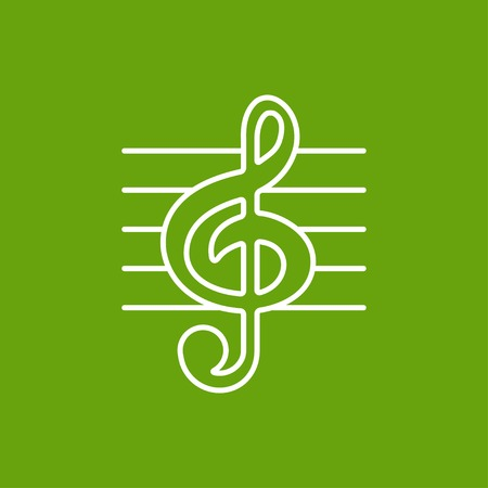 eight note: Vector white music flat icon outline . Eps10 Illustration
