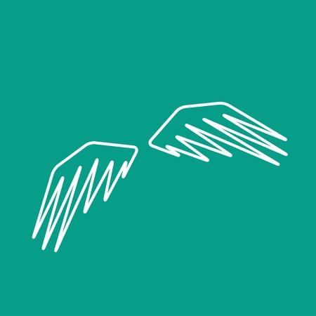wings icon: Vector isolato contorno ali piatte icona. Eps10 Vettoriali