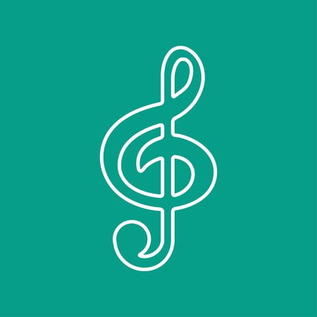 eight note: Vector white music flat icon outline. Eps10