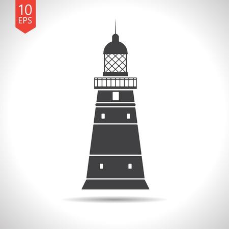 lighthouse keeper: Vector flat lighthouse icon  on white background. Eps10