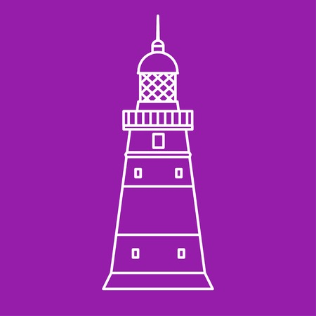 lighthouse keeper: Vector flat lighthouse icon outline design. Eps10
