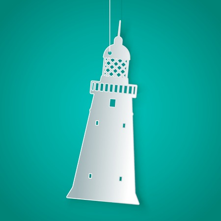 lighthouse keeper: Vector flat white paper lighthouse icon. Eps10