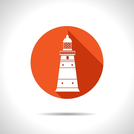 lighthouse keeper: Vector flat lighthouse icon with long shadow. Eps10