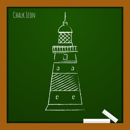 lighthouse keeper: Vector chalk draw lighthouse icon on school board. Eps10 Illustration